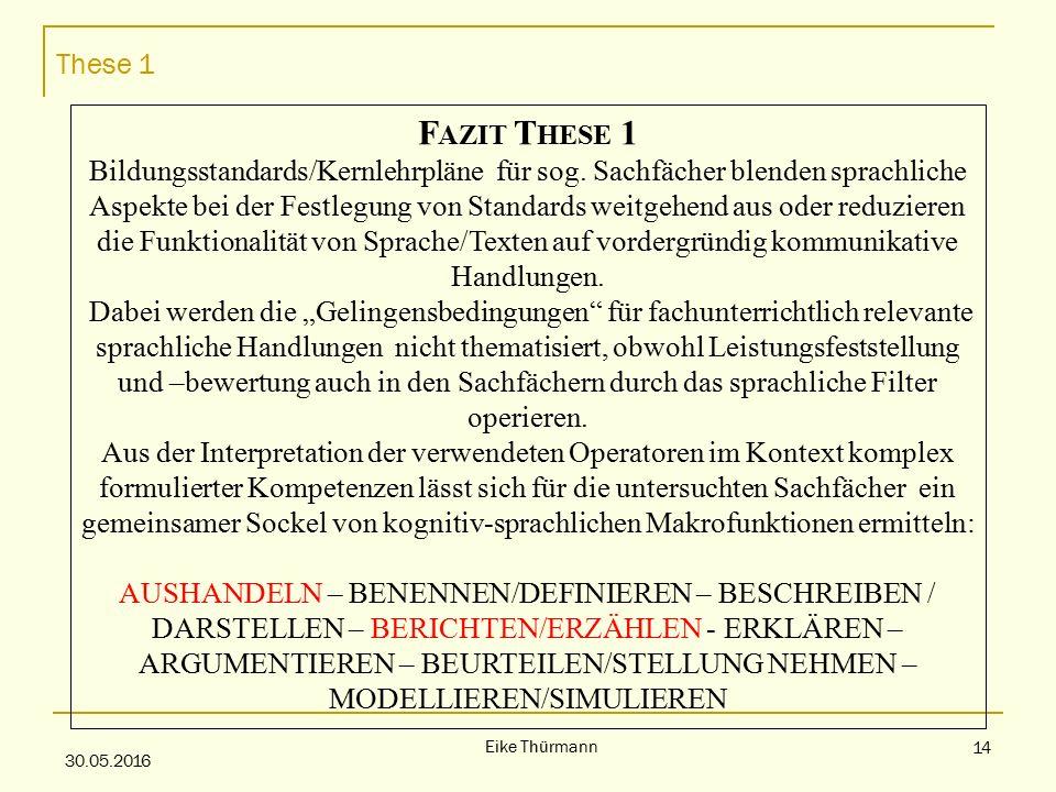 These 1 30.05.2016 Eike Thürmann 14 F AZIT T HESE 1 Bildungsstandards/Kernlehrpläne für sog.
