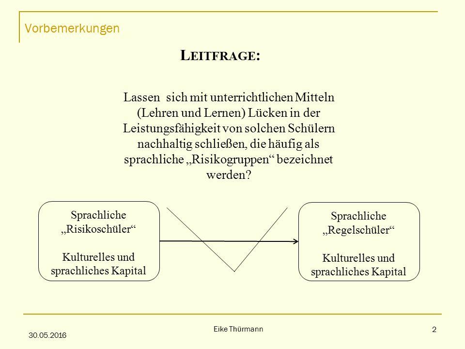 """Vorbemerkungen 30.05.2016 Eike Thürmann 2 L EITFRAGE : Lassen sich mit unterrichtlichen Mitteln (Lehren und Lernen) Lücken in der Leistungsfähigkeit von solchen Schülern nachhaltig schließen, die häufig als sprachliche """"Risikogruppen bezeichnet werden."""