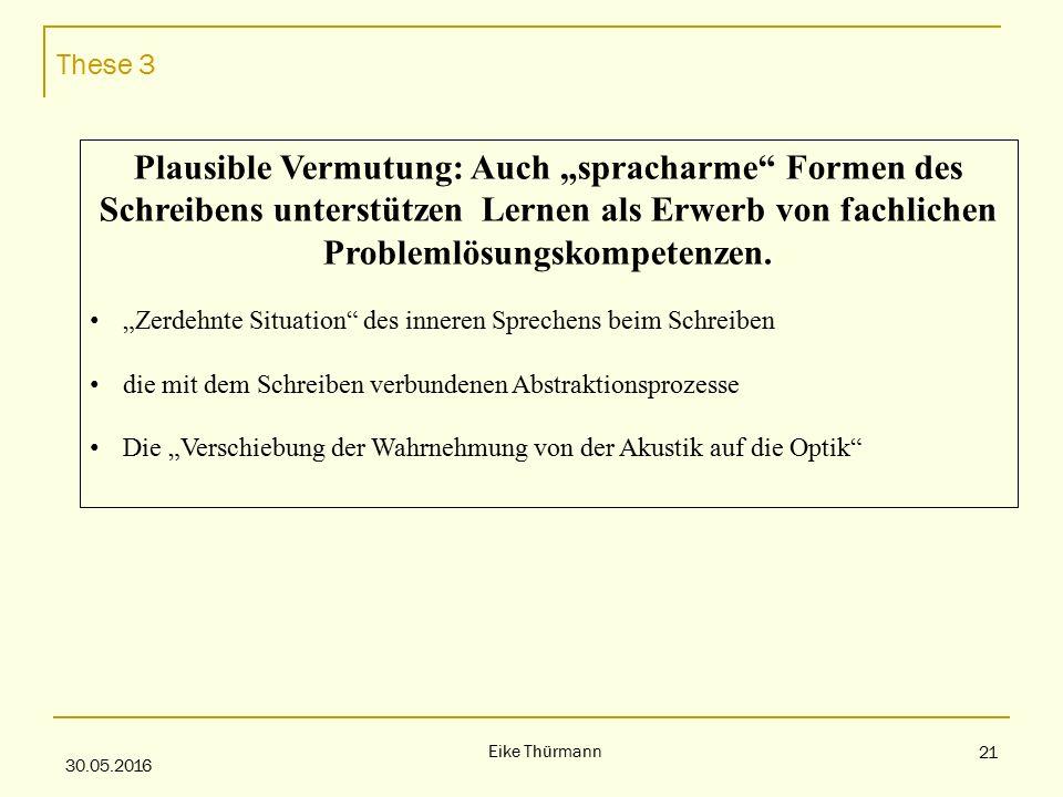 """These 3 30.05.2016 Eike Thürmann 21 Plausible Vermutung: Auch """"spracharme Formen des Schreibens unterstützen Lernen als Erwerb von fachlichen Problemlösungskompetenzen."""