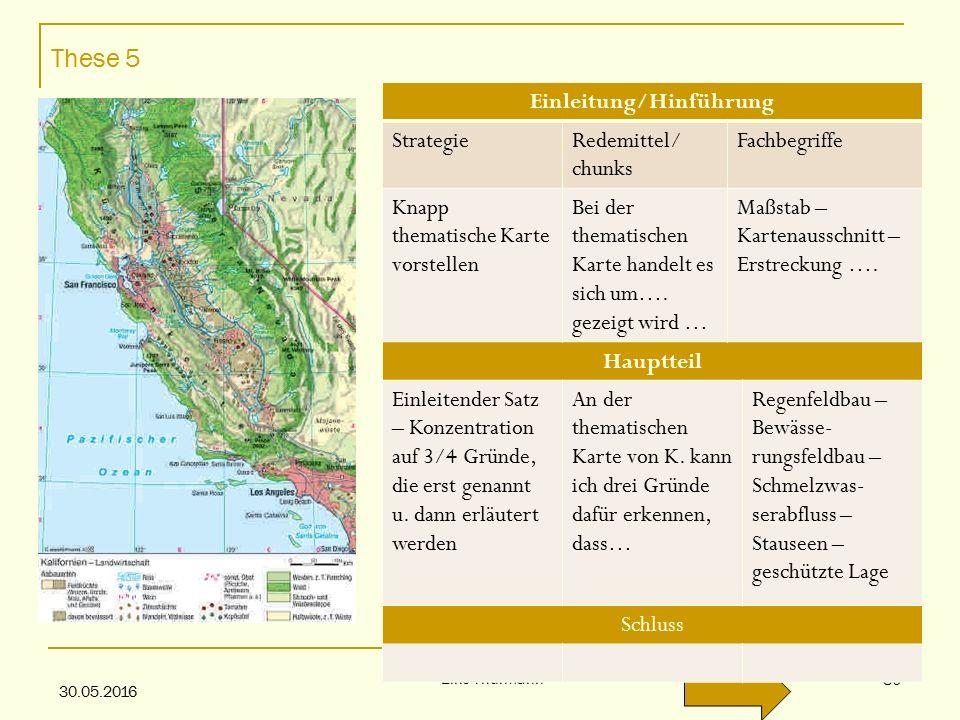 These 5 30.05.2016 Eike Thürmann 30 Einleitung/Hinführung StrategieRedemittel/ chunks Fachbegriffe Knapp thematische Karte vorstellen Bei der thematischen Karte handelt es sich um….