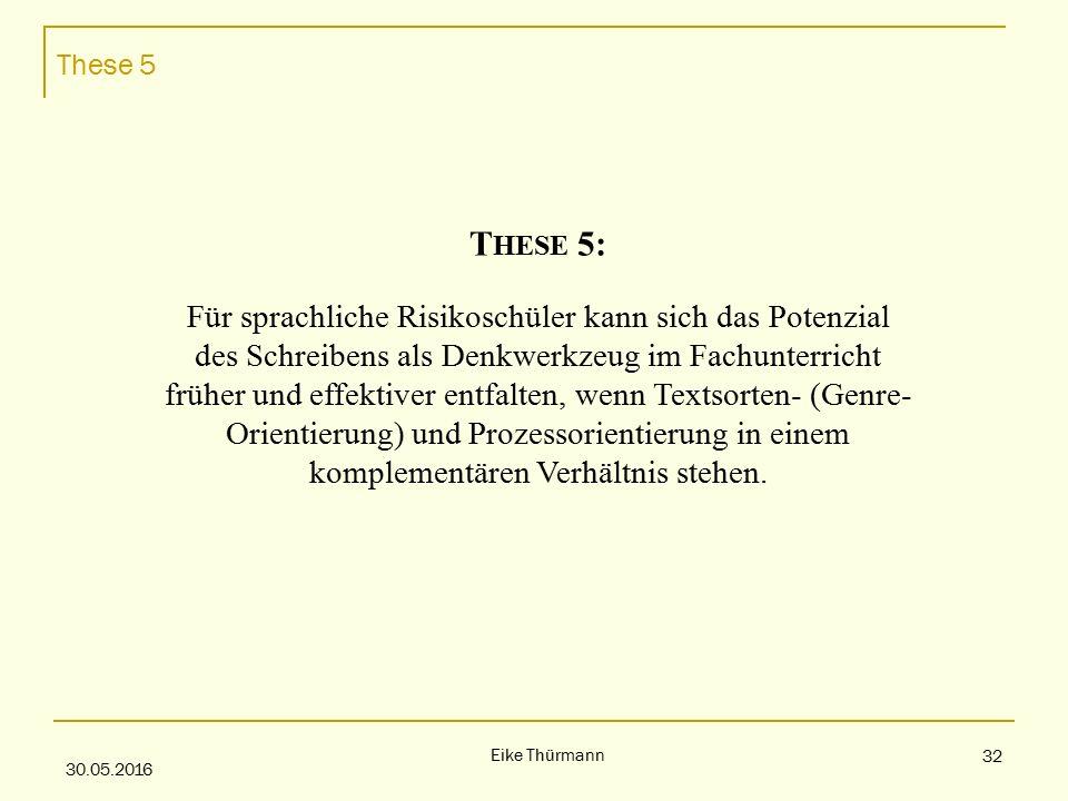 These 5 30.05.2016 Eike Thürmann 32 T HESE 5: Für sprachliche Risikoschüler kann sich das Potenzial des Schreibens als Denkwerkzeug im Fachunterricht früher und effektiver entfalten, wenn Textsorten- (Genre- Orientierung) und Prozessorientierung in einem komplementären Verhältnis stehen.