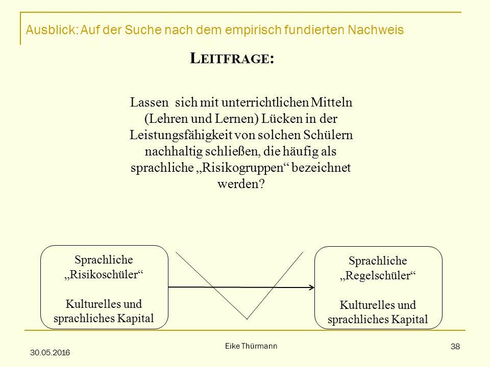 """Ausblick: Auf der Suche nach dem empirisch fundierten Nachweis 30.05.2016 Eike Thürmann 38 L EITFRAGE : Lassen sich mit unterrichtlichen Mitteln (Lehren und Lernen) Lücken in der Leistungsfähigkeit von solchen Schülern nachhaltig schließen, die häufig als sprachliche """"Risikogruppen bezeichnet werden."""