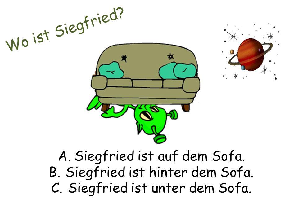 Wo ist Siegfried. A.Siegfried ist auf dem Sofa. B.Siegfried ist hinter dem Sofa.