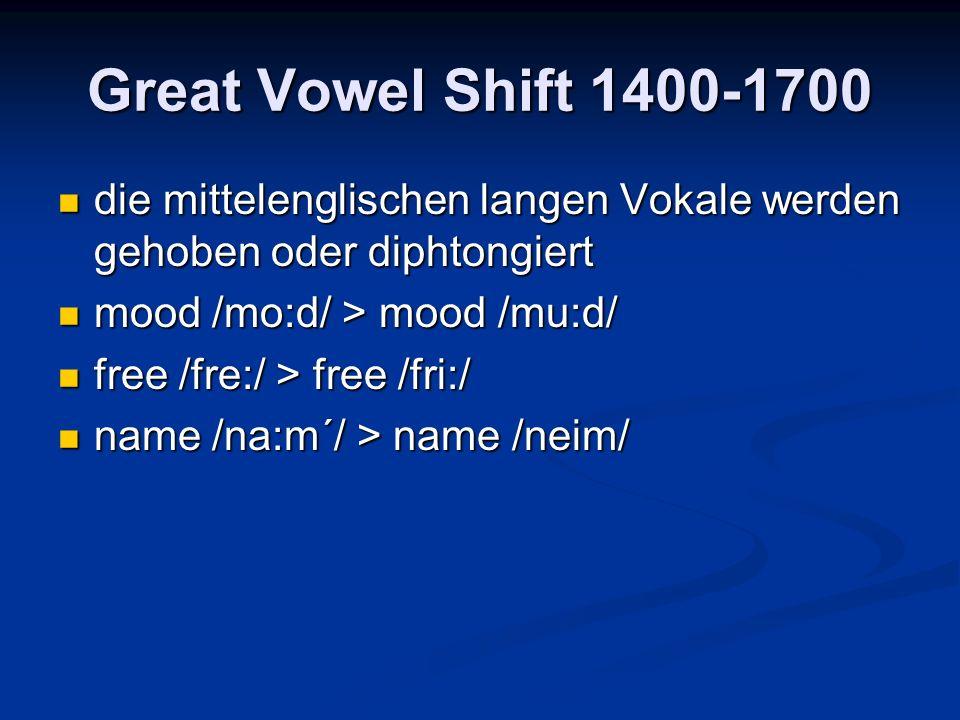 Great Vowel Shift 1400-1700 die mittelenglischen langen Vokale werden gehoben oder diphtongiert die mittelenglischen langen Vokale werden gehoben oder diphtongiert mood /mo:d/ > mood /mu:d/ mood /mo:d/ > mood /mu:d/ free /fre:/ > free /fri:/ free /fre:/ > free /fri:/ name /na:m´/ > name /neim/ name /na:m´/ > name /neim/