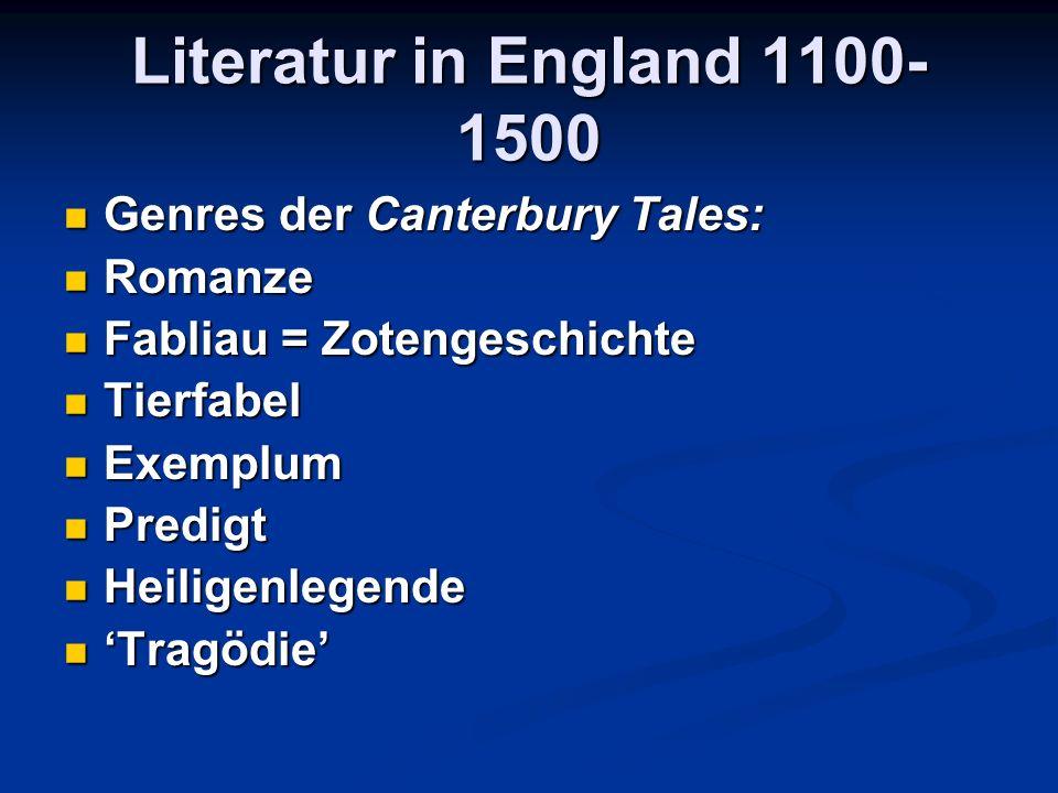 Literatur in England 1100- 1500 Genres der Canterbury Tales: Genres der Canterbury Tales: Romanze Romanze Fabliau = Zotengeschichte Fabliau = Zotengeschichte Tierfabel Tierfabel Exemplum Exemplum Predigt Predigt Heiligenlegende Heiligenlegende 'Tragödie' 'Tragödie'