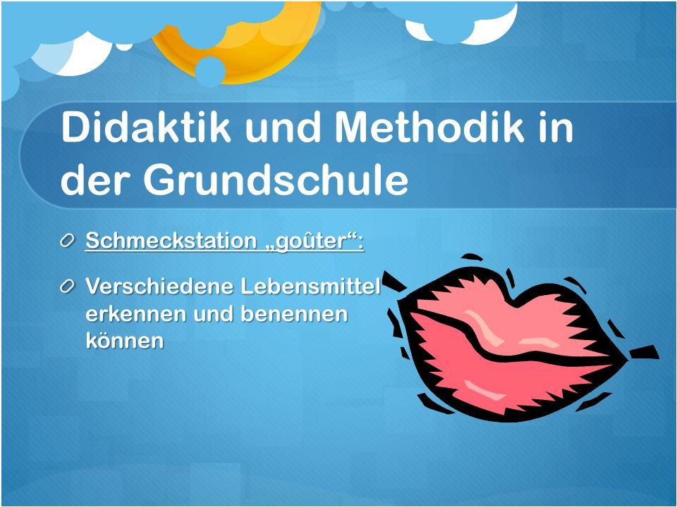 """Didaktik und Methodik in der Grundschule Schmeckstation """"goûter : Verschiedene Lebensmittel erkennen und benennen können"""