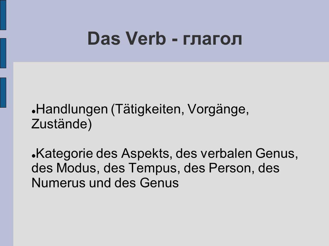 Das Verb - глагол Handlungen (Tätigkeiten, Vorgänge, Zustände) Kategorie des Aspekts, des verbalen Genus, des Modus, des Tempus, des Person, des Numerus und des Genus