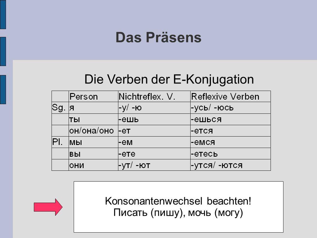 Das Präsens Die Verben der E-Konjugation Konsonantenwechsel beachten! Писать (пишу), мочь (могу)