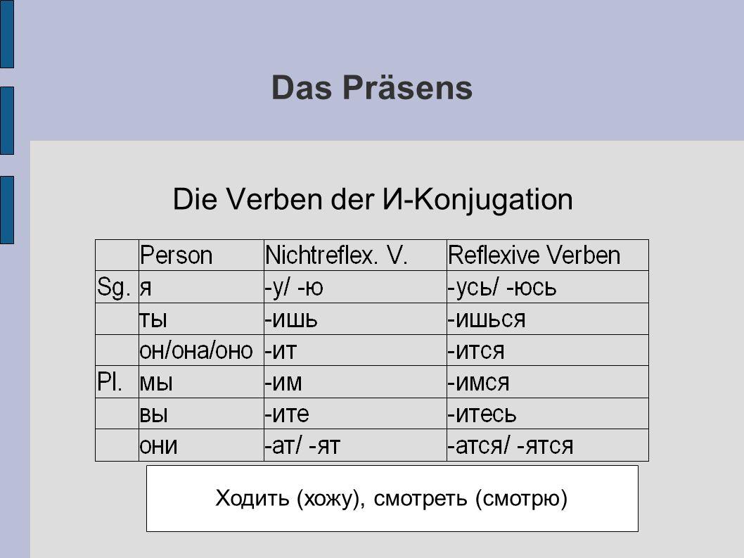 Das Präsens Die Verben der И-Konjugation Ходить (хожу), смотреть (смотрю)