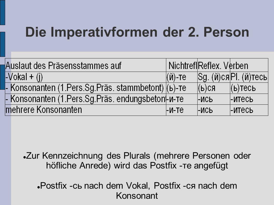 Die Imperativformen der 2.