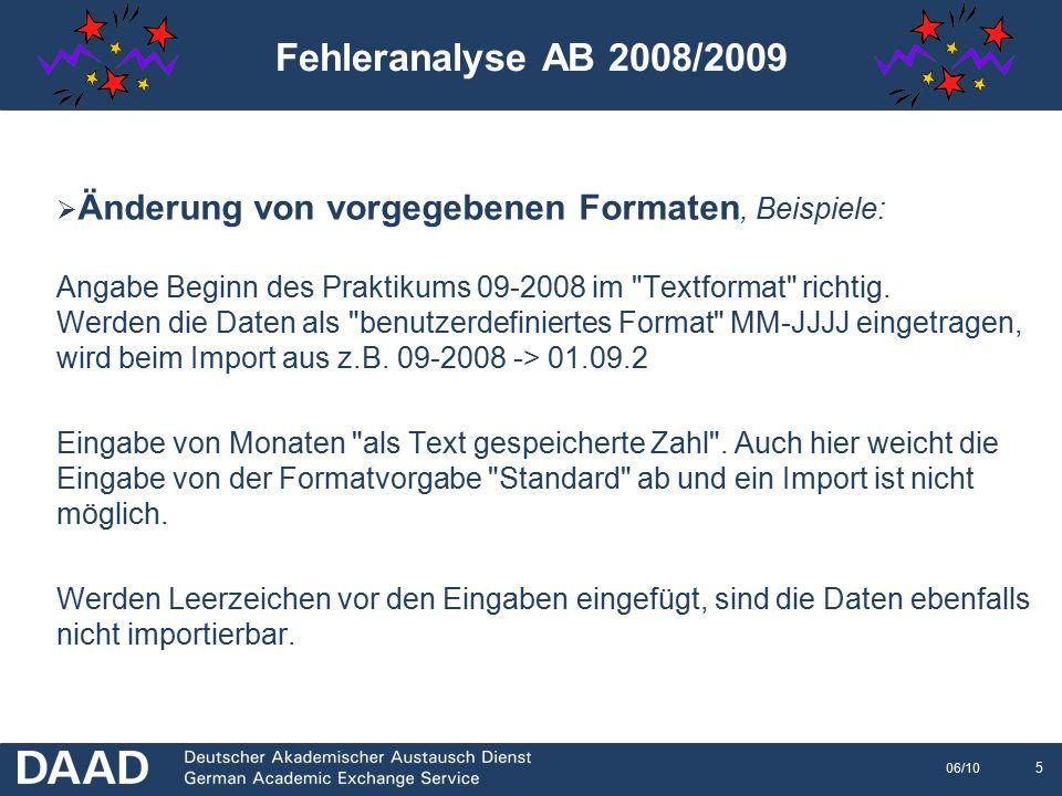6 06/10  Nutzung falscher Codes Sprachcodes und ISO-Länder Code werden verwechselt (EN = englisch, UK = Großbritannien)  Nutzung der Codes im falschen Format D AACHEN02 falsch D AACHEN02 richtig  Monatlicher Zuschuss nicht über 400,-  Sind alle Felder ausgefüllt.