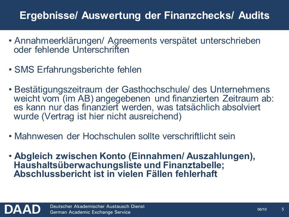 16 06/10 Mittelfluss nach Auswertung der Abschlussberichte 2009/10 Rückzahlungen an die NA-DAAD, die sich auf Grund des Abschlussberichts ergeben, bitte erst nach Aufforderung im Feedbackschreiben überweisen.