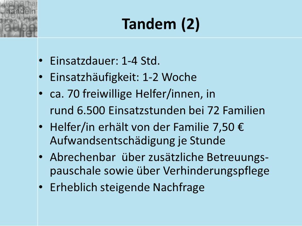 Tandem (2) Einsatzdauer: 1-4 Std. Einsatzhäufigkeit: 1-2 Woche ca. 70 freiwillige Helfer/innen, in rund 6.500 Einsatzstunden bei 72 Familien Helfer/in