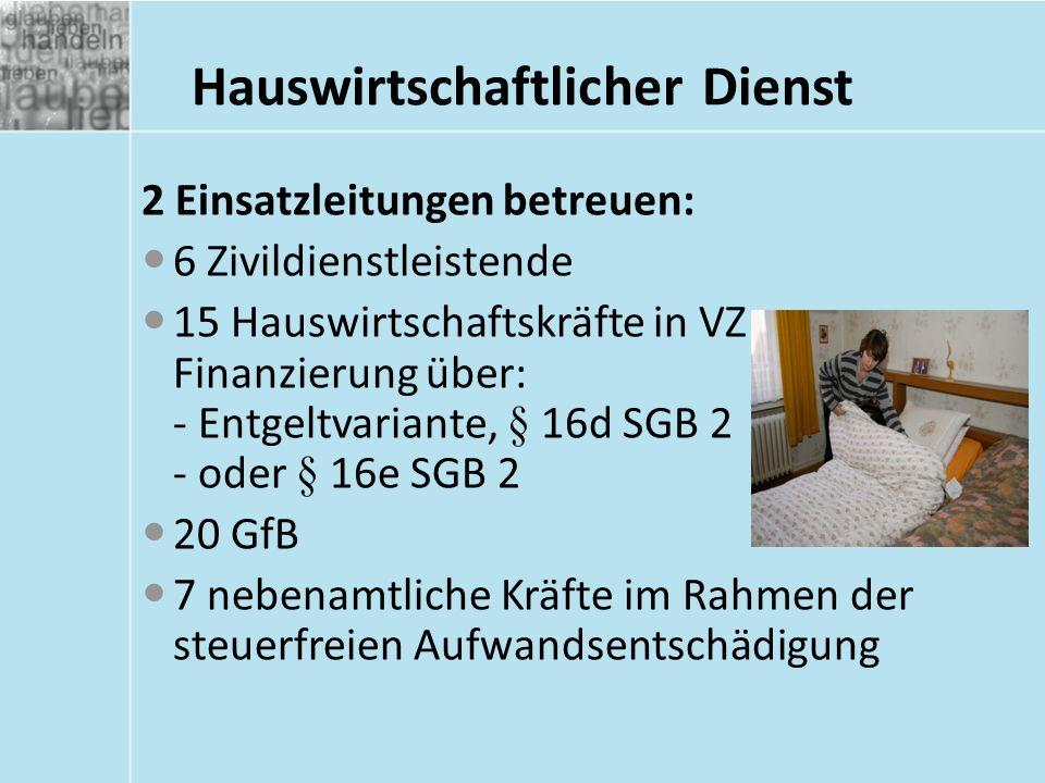 Hauswirtschaftlicher Dienst 2 Einsatzleitungen betreuen: 6 Zivildienstleistende 15 Hauswirtschaftskräfte in VZ Finanzierung über: - Entgeltvariante, §