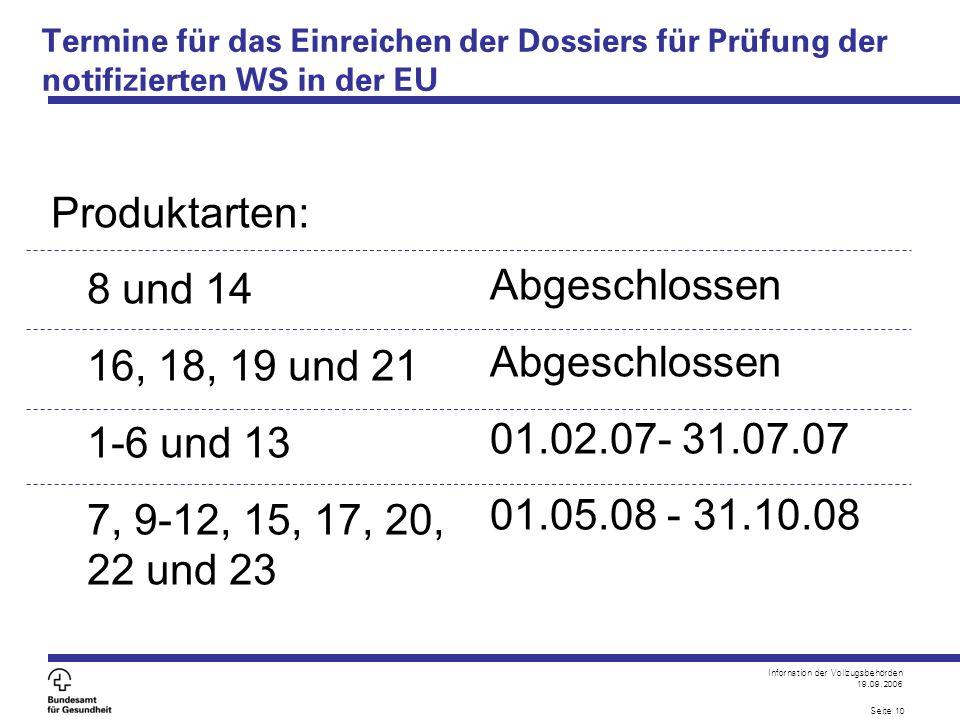 Infornation der Vollzugsbehörden 19.09.2006 Seite 10 Termine für das Einreichen der Dossiers für Prüfung der notifizierten WS in der EU Produktarten: