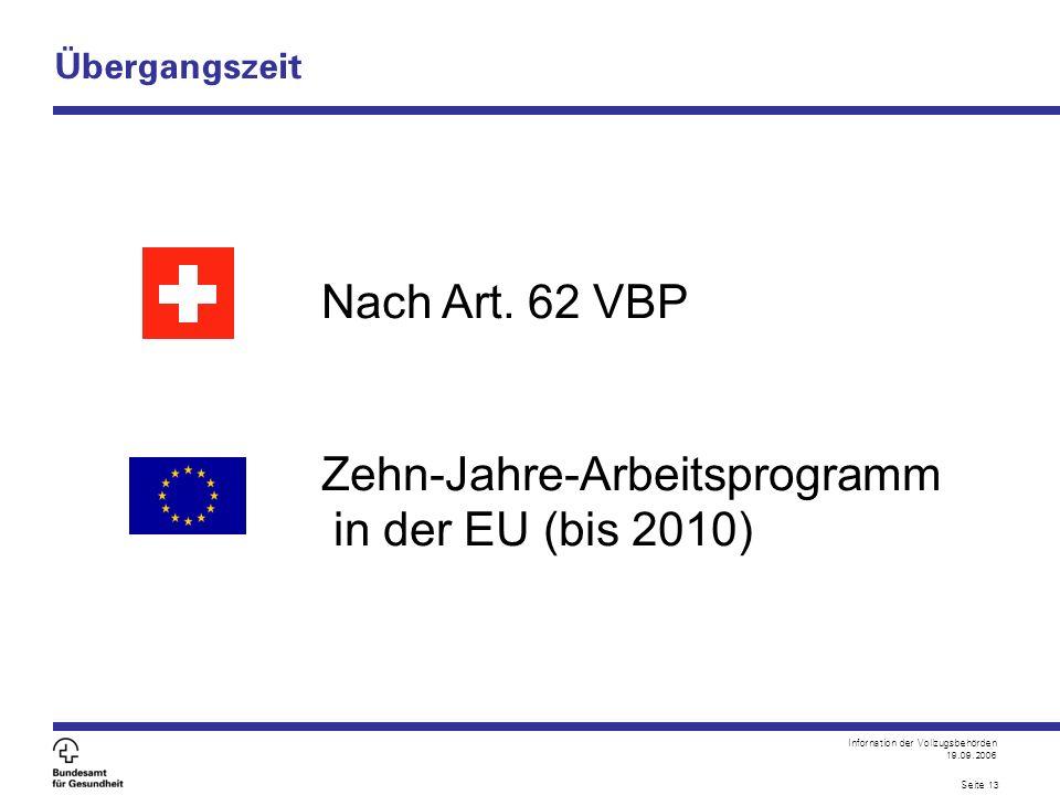 Infornation der Vollzugsbehörden 19.09.2006 Seite 13 Übergangszeit Nach Art. 62 VBP Zehn-Jahre-Arbeitsprogramm in der EU (bis 2010)
