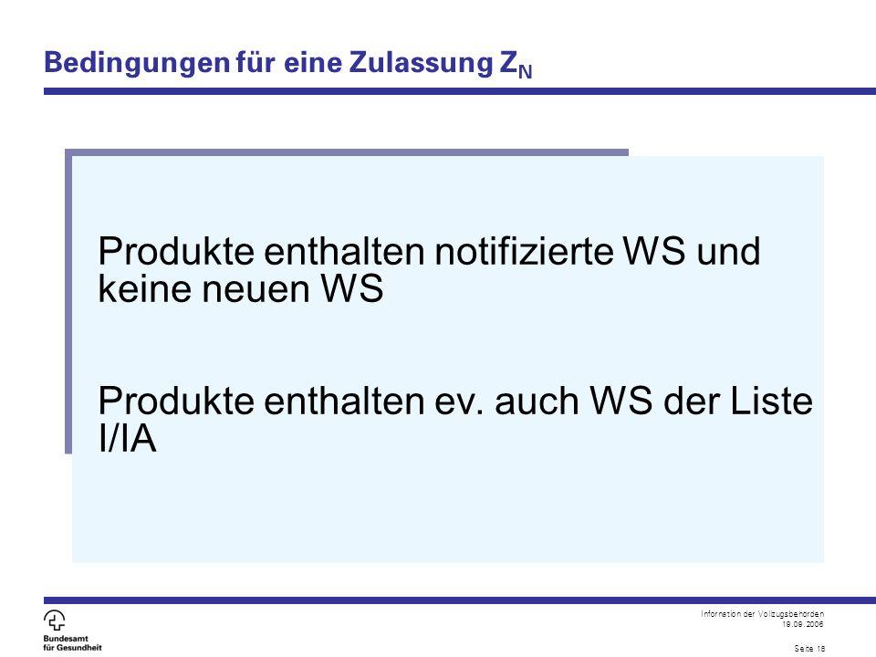 Infornation der Vollzugsbehörden 19.09.2006 Seite 18 Bedingungen für eine Zulassung Z N Produkte enthalten notifizierte WS und keine neuen WS Produkte enthalten ev.