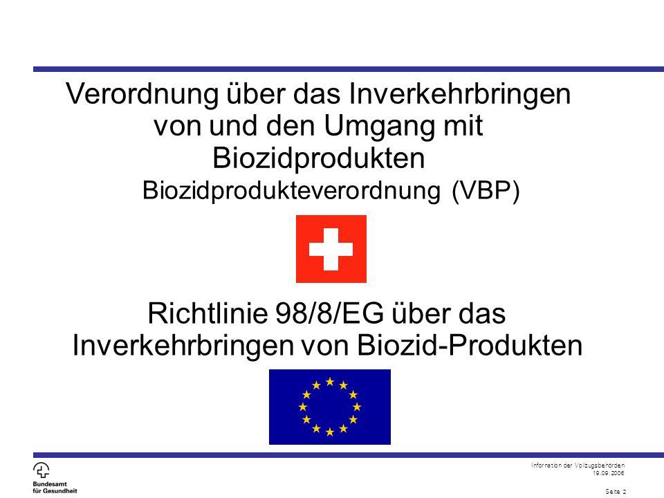 Infornation der Vollzugsbehörden 19.09.2006 Seite 2 Verordnung über das Inverkehrbringen von und den Umgang mit Biozidprodukten Biozidprodukteverordnung (VBP) Richtlinie 98/8/EG über das Inverkehrbringen von Biozid-Produkten