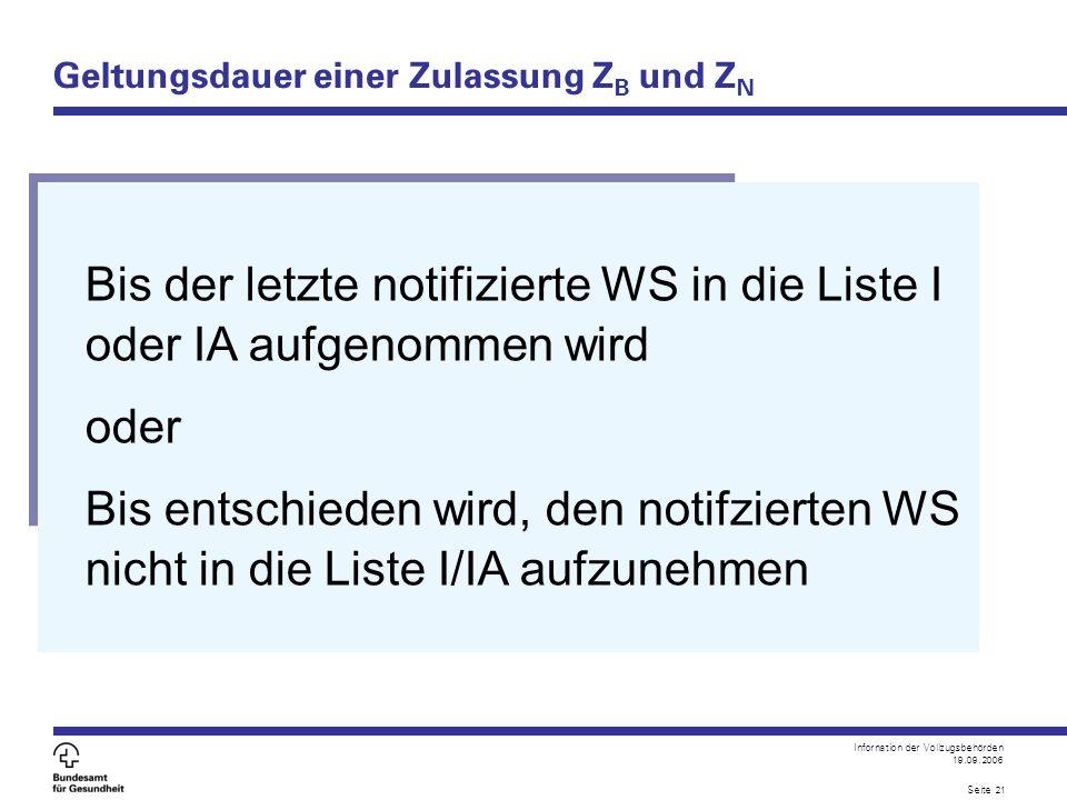 Infornation der Vollzugsbehörden 19.09.2006 Seite 21 Geltungsdauer einer Zulassung Z B und Z N Bis der letzte notifizierte WS in die Liste I oder IA aufgenommen wird oder Bis entschieden wird, den notifzierten WS nicht in die Liste I/IA aufzunehmen