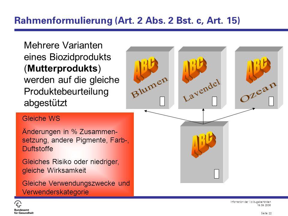 Infornation der Vollzugsbehörden 19.09.2006 Seite 22 Rahmenformulierung (Art. 2 Abs. 2 Bst. c, Art. 15) Mehrere Varianten eines Biozidprodukts (Mutter