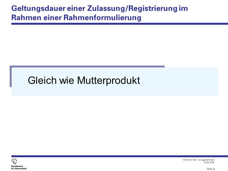 Infornation der Vollzugsbehörden 19.09.2006 Seite 24 Geltungsdauer einer Zulassung/Registrierung im Rahmen einer Rahmenformulierung Gleich wie Mutterprodukt