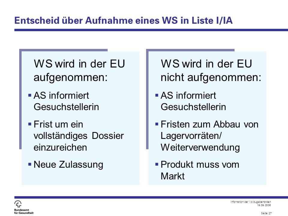 Infornation der Vollzugsbehörden 19.09.2006 Seite 27 Entscheid über Aufnahme eines WS in Liste I/IA WS wird in der EU aufgenommen:  AS informiert Ges