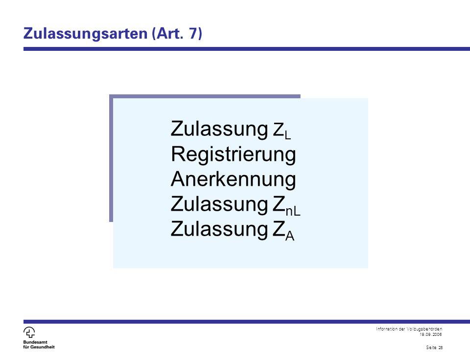 Infornation der Vollzugsbehörden 19.09.2006 Seite 28 Zulassungsarten (Art. 7) Zulassung Z L Registrierung Anerkennung Zulassung Z nL Zulassung Z A