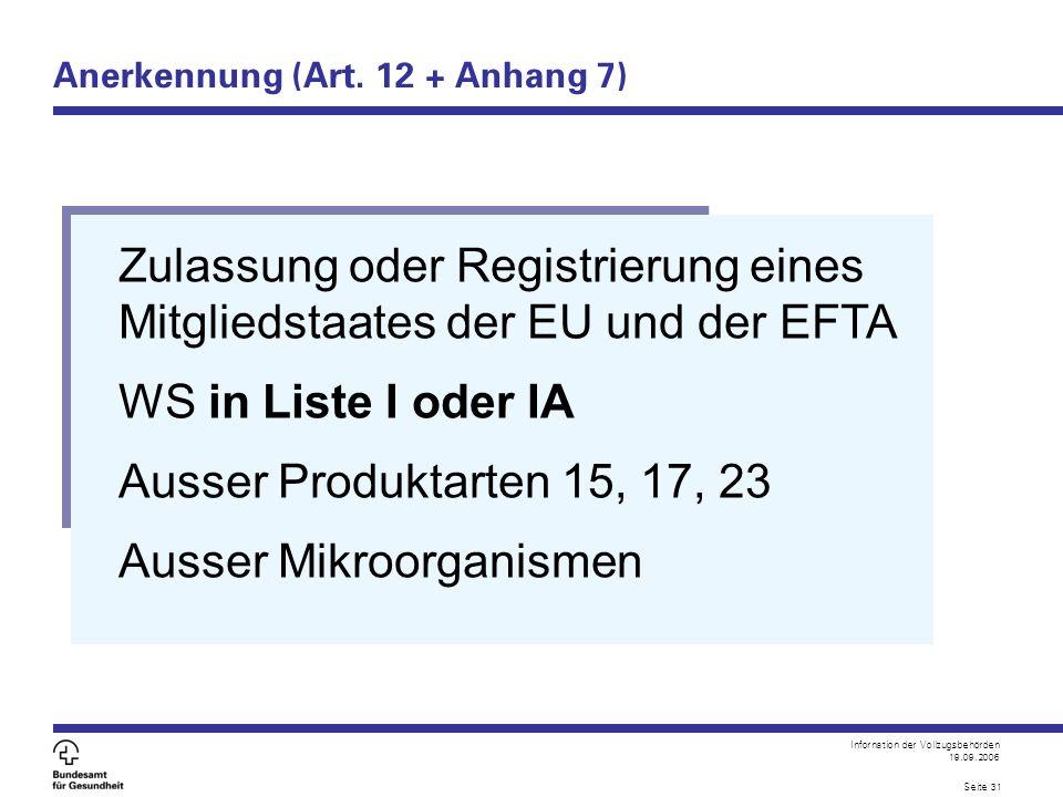 Infornation der Vollzugsbehörden 19.09.2006 Seite 31 Anerkennung (Art. 12 + Anhang 7) Zulassung oder Registrierung eines Mitgliedstaates der EU und de