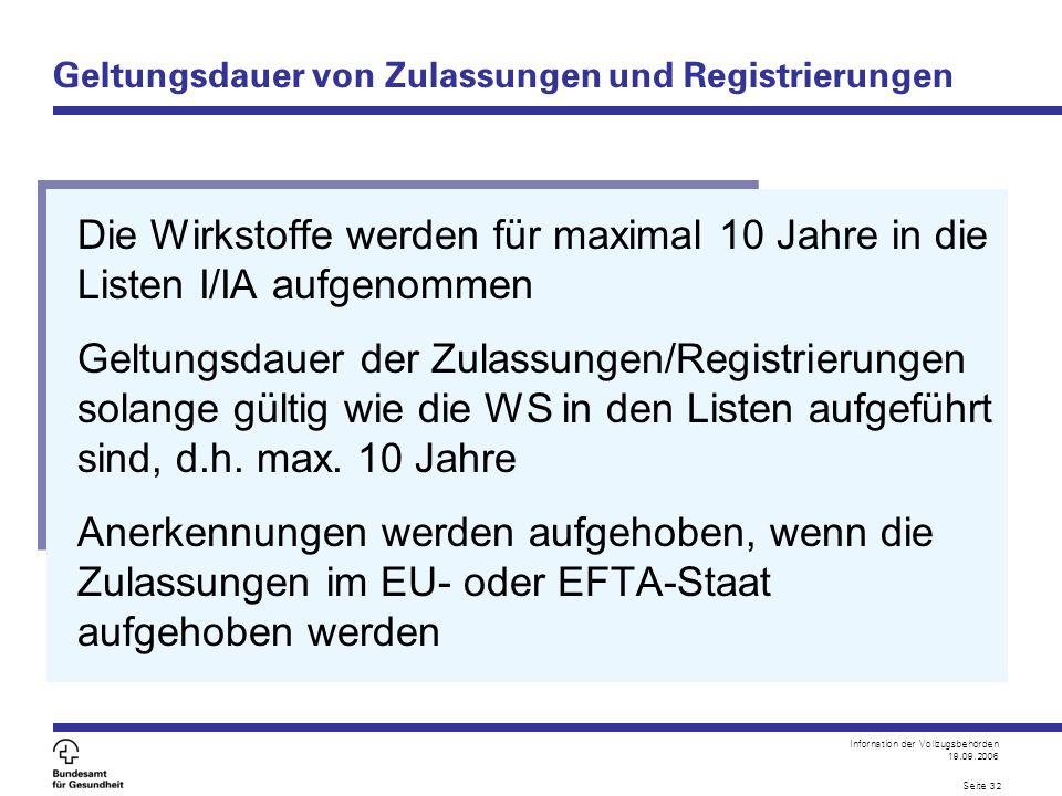 Infornation der Vollzugsbehörden 19.09.2006 Seite 32 Geltungsdauer von Zulassungen und Registrierungen Die Wirkstoffe werden für maximal 10 Jahre in d