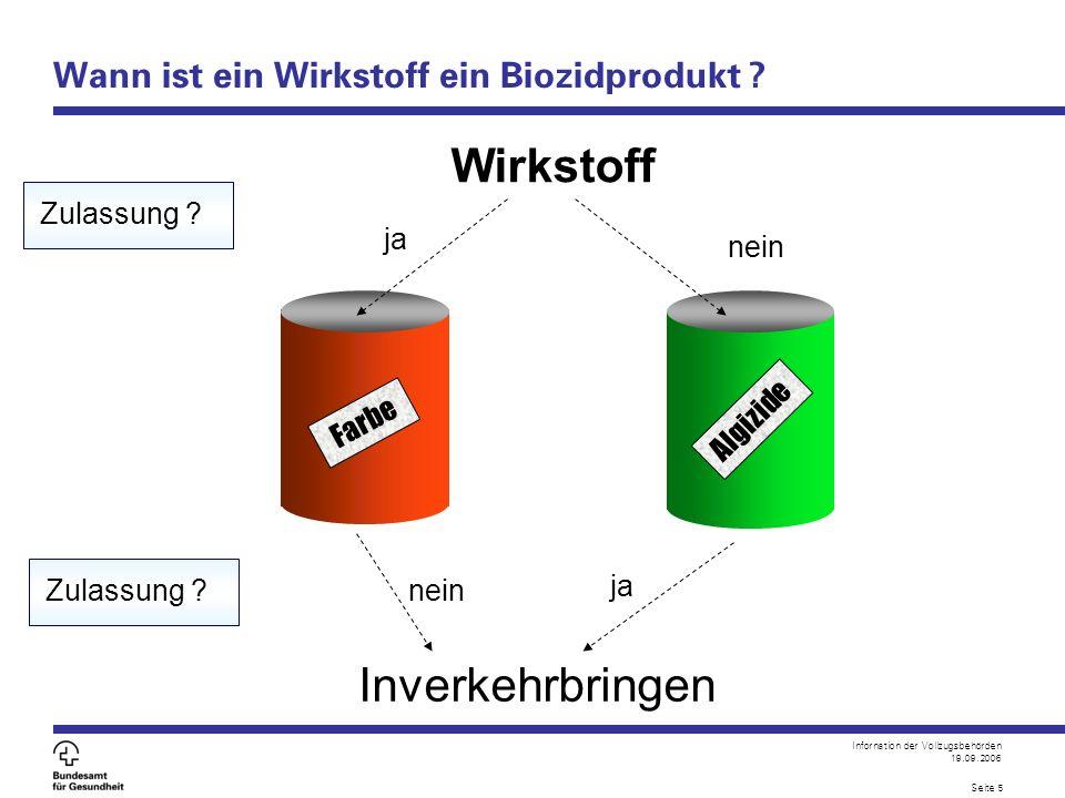 Infornation der Vollzugsbehörden 19.09.2006 Seite 5 Wann ist ein Wirkstoff ein Biozidprodukt ? Wirkstoff ja nein Inverkehrbringen Zulassung ? nein Far
