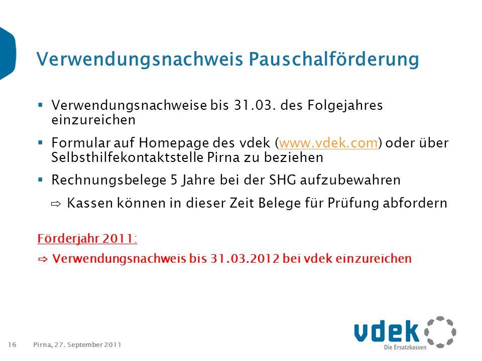 16 Verwendungsnachweis Pauschalförderung  Verwendungsnachweise bis 31.03.