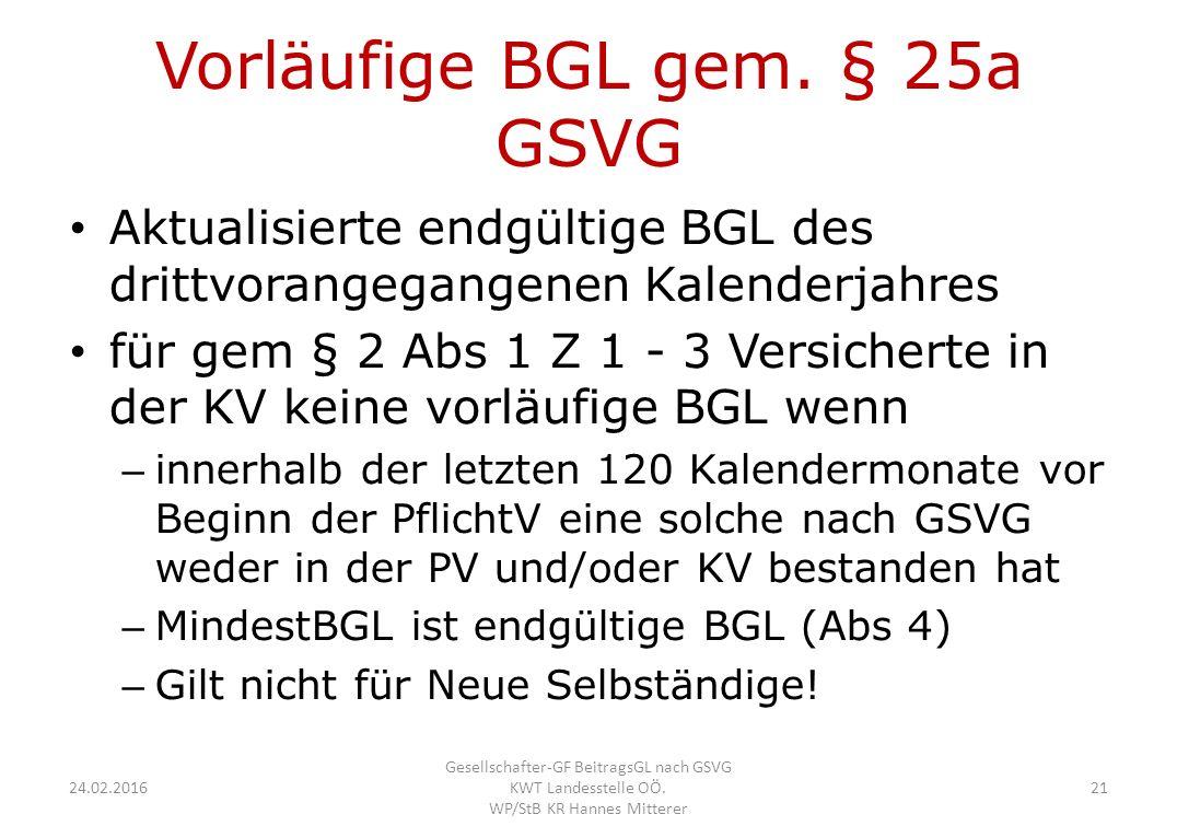 Vorläufige BGL gem.