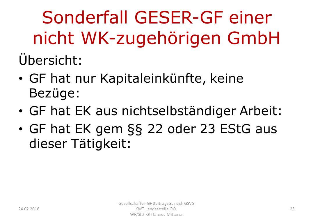 Sonderfall GESER-GF einer nicht WK-zugehörigen GmbH Übersicht: GF hat nur Kapitaleinkünfte, keine Bezüge: GF hat EK aus nichtselbständiger Arbeit: GF hat EK gem §§ 22 oder 23 EStG aus dieser Tätigkeit: 24.02.2016 Gesellschafter-GF BeitragsGL nach GSVG KWT Landesstelle OÖ.