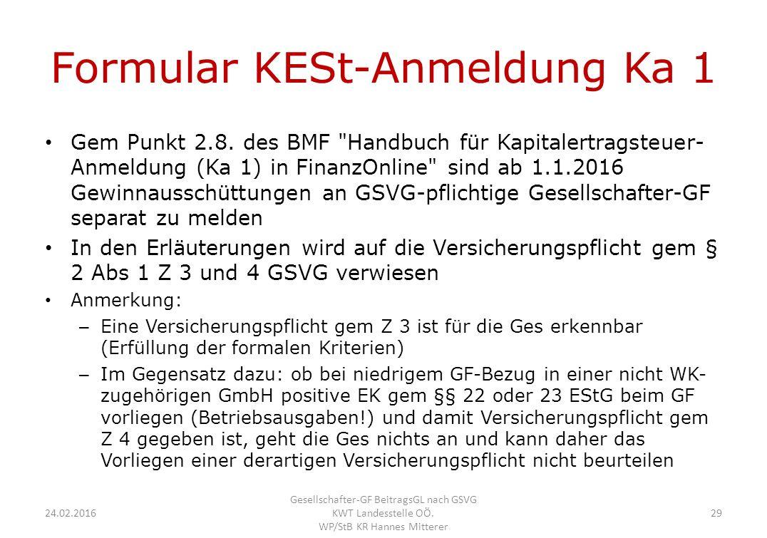 Formular KESt-Anmeldung Ka 1 Gem Punkt 2.8.