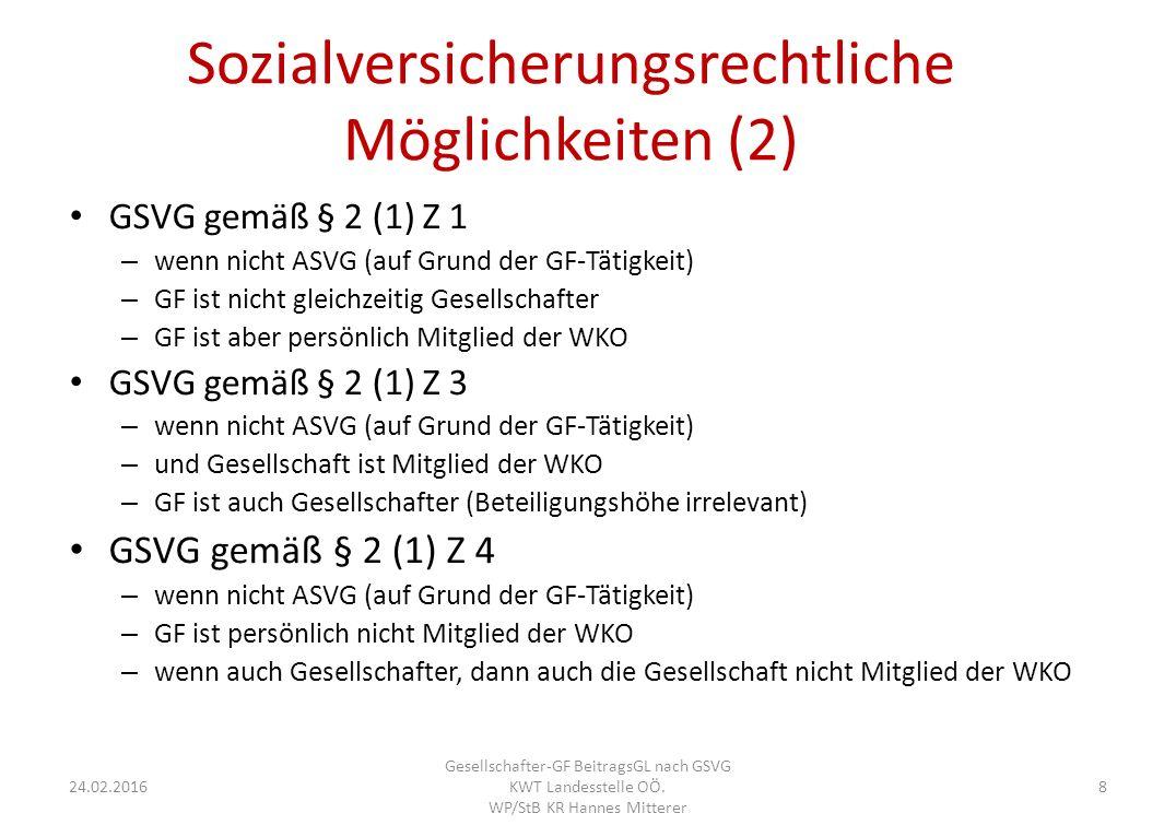 Sozialversicherungsrechtliche Möglichkeiten (2) GSVG gemäß § 2 (1) Z 1 – wenn nicht ASVG (auf Grund der GF-Tätigkeit) – GF ist nicht gleichzeitig Gesellschafter – GF ist aber persönlich Mitglied der WKO GSVG gemäß § 2 (1) Z 3 – wenn nicht ASVG (auf Grund der GF-Tätigkeit) – und Gesellschaft ist Mitglied der WKO – GF ist auch Gesellschafter (Beteiligungshöhe irrelevant) GSVG gemäß § 2 (1) Z 4 – wenn nicht ASVG (auf Grund der GF-Tätigkeit) – GF ist persönlich nicht Mitglied der WKO – wenn auch Gesellschafter, dann auch die Gesellschaft nicht Mitglied der WKO 24.02.2016 Gesellschafter-GF BeitragsGL nach GSVG KWT Landesstelle OÖ.
