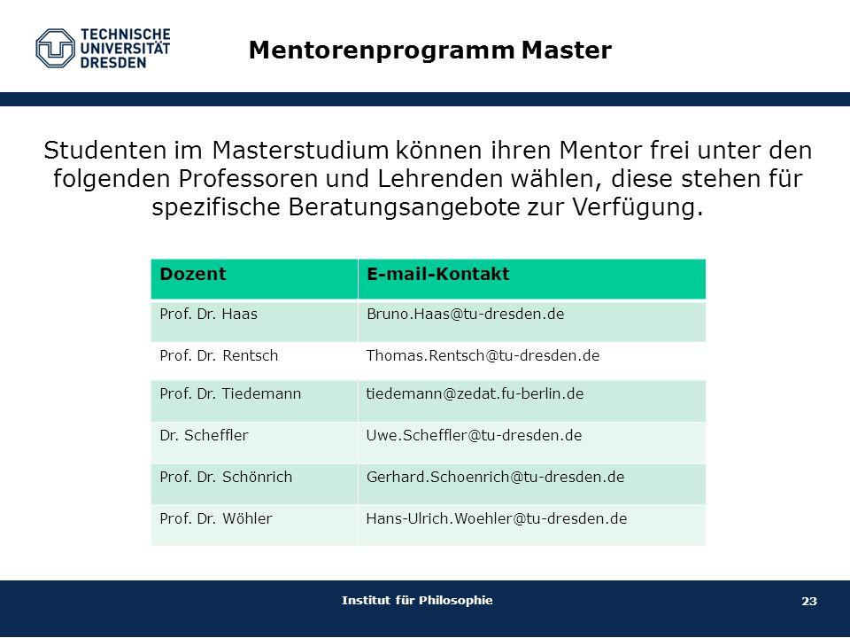 23 Institut für Philosophie Mentorenprogramm Master DozentE-mail-Kontakt Prof. Dr. HaasBruno.Haas@tu-dresden.de Prof. Dr. RentschThomas.Rentsch@tu-dre