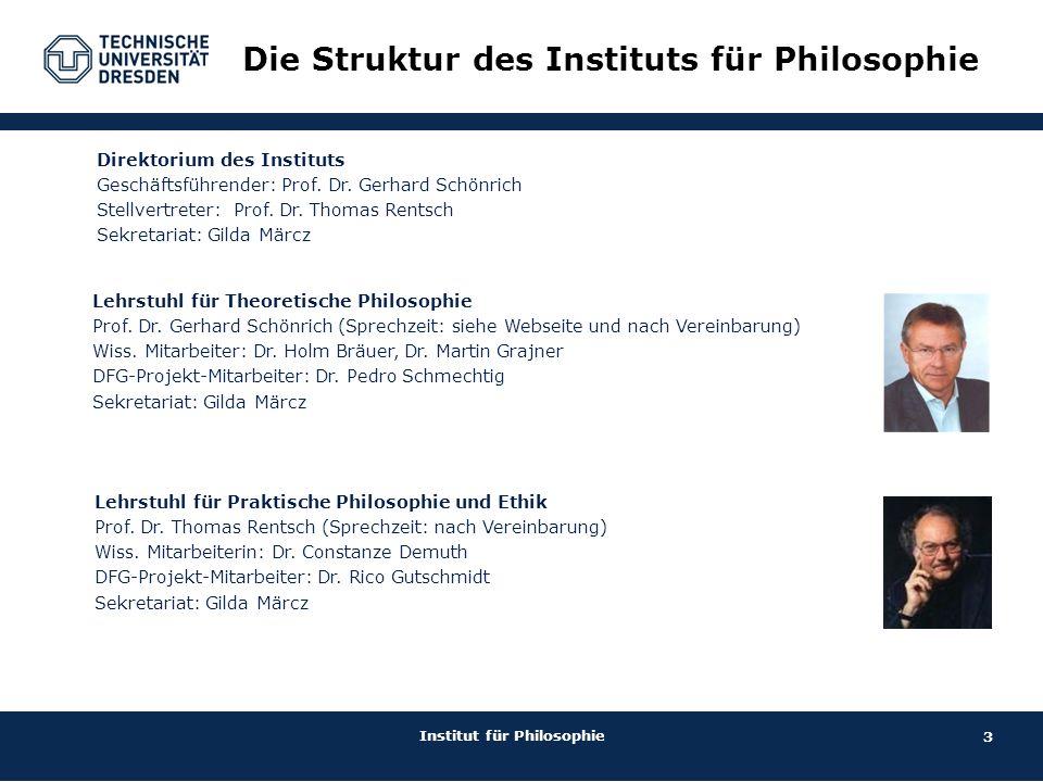 3 Institut für Philosophie Direktorium des Instituts Geschäftsführender: Prof. Dr. Gerhard Schönrich  Stellvertreter: Prof. Dr. Thomas Rentsch Sekret