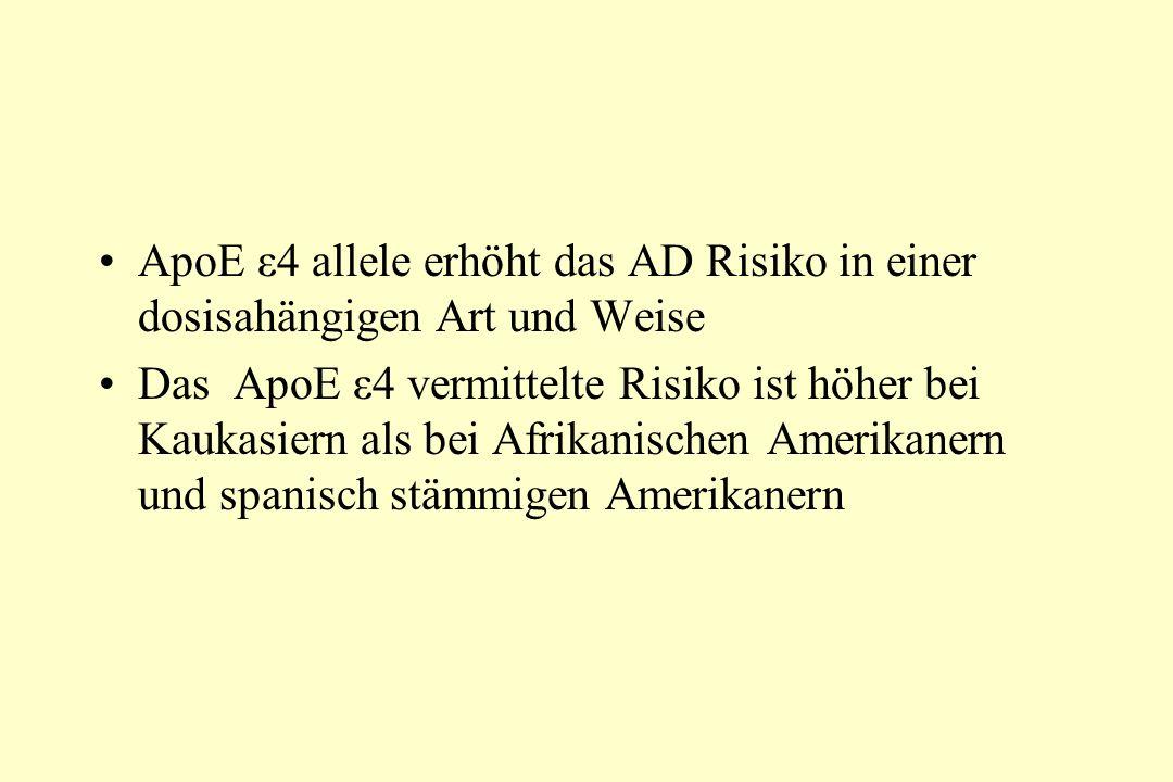 ApoE ε4 allele erhöht das AD Risiko in einer dosisahängigen Art und Weise Das ApoE ε4 vermittelte Risiko ist höher bei Kaukasiern als bei Afrikanischen Amerikanern und spanisch stämmigen Amerikanern