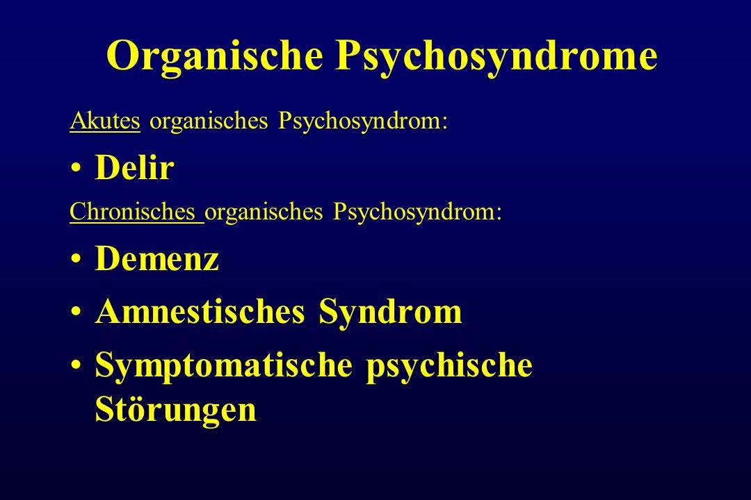 Organische Psychosyndrome Akutes organisches Psychosyndrom: Delir Chronisches organisches Psychosyndrom: Demenz Amnestisches Syndrom Symptomatische ps