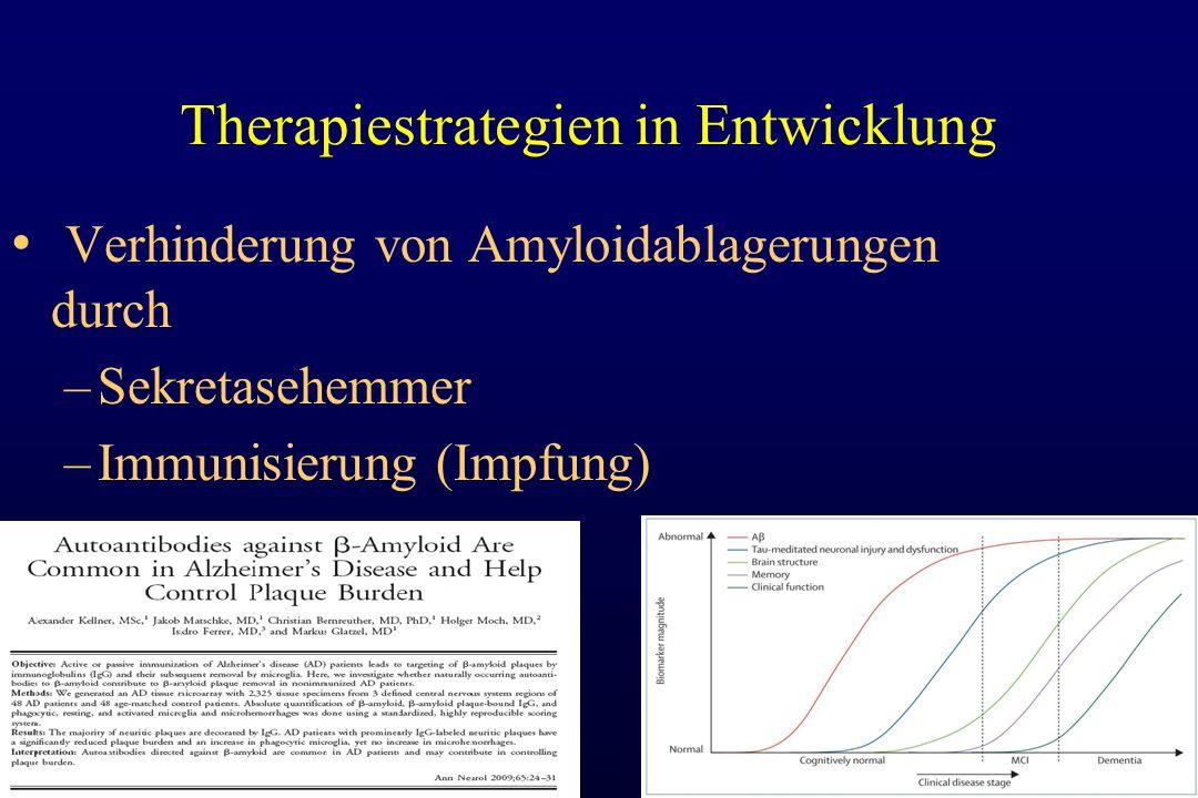 Therapiestrategien in Entwicklung Verhinderung von Amyloidablagerungen durch –Sekretasehemmer –Immunisierung (Impfung)