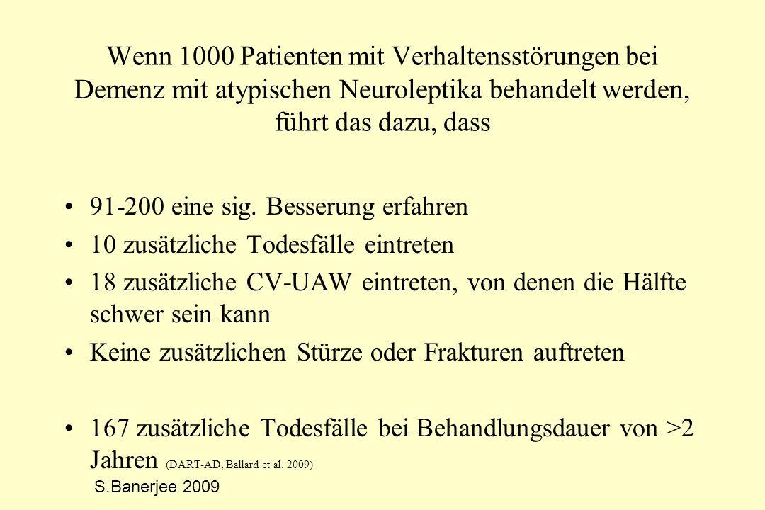 Wenn 1000 Patienten mit Verhaltensstörungen bei Demenz mit atypischen Neuroleptika behandelt werden, führt das dazu, dass 91-200 eine sig. Besserung e