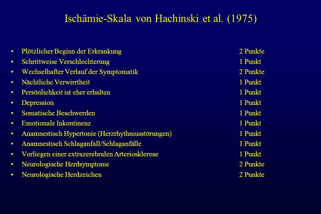 Ischämie-Skala von Hachinski et al. (1975) Plötzlicher Beginn der Erkrankung2 Punkte Schrittweise Verschlechterung1 Punkt Wechselhafter Verlauf der Sy