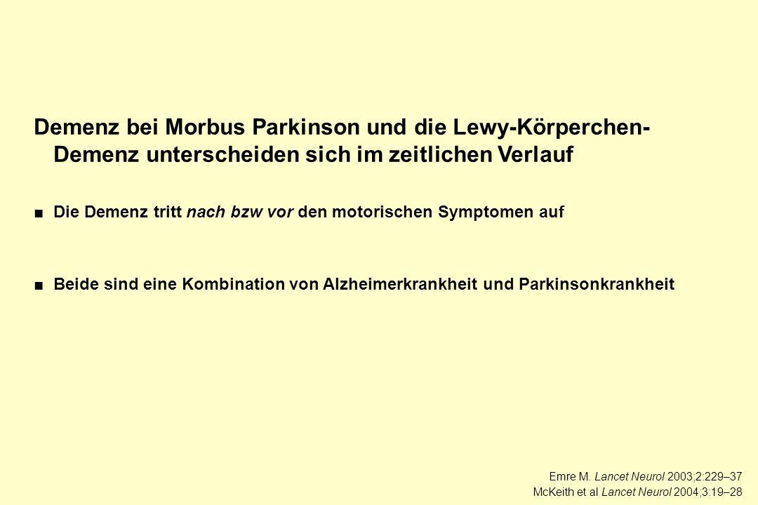 Demenz bei Morbus Parkinson und die Lewy-Körperchen- Demenz unterscheiden sich im zeitlichen Verlauf ■Die Demenz tritt nach bzw vor den motorischen Sy