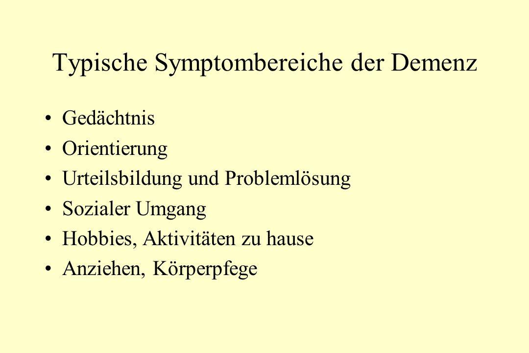 Typische Symptombereiche der Demenz Gedächtnis Orientierung Urteilsbildung und Problemlösung Sozialer Umgang Hobbies, Aktivitäten zu hause Anziehen, K