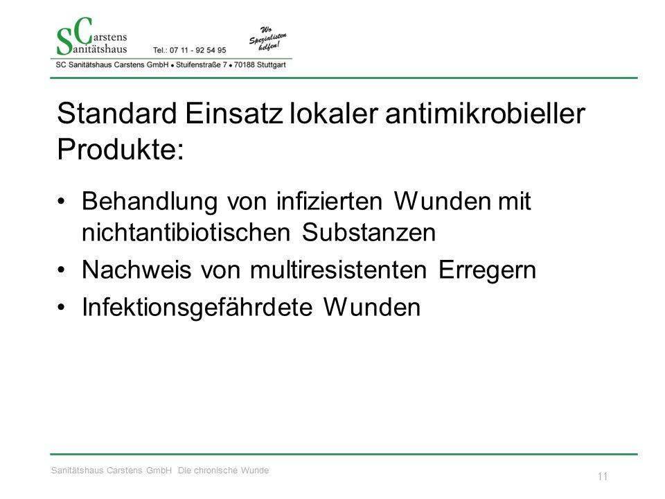 Sanitätshaus Carstens GmbH Die chronische Wunde Standard Einsatz lokaler antimikrobieller Produkte: Behandlung von infizierten Wunden mit nichtantibiotischen Substanzen Nachweis von multiresistenten Erregern Infektionsgefährdete Wunden 11