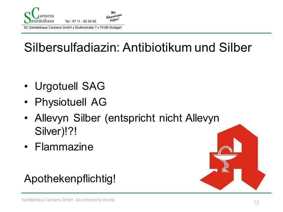 Sanitätshaus Carstens GmbH Die chronische Wunde Silbersulfadiazin: Antibiotikum und Silber Urgotuell SAG Physiotuell AG Allevyn Silber (entspricht nic