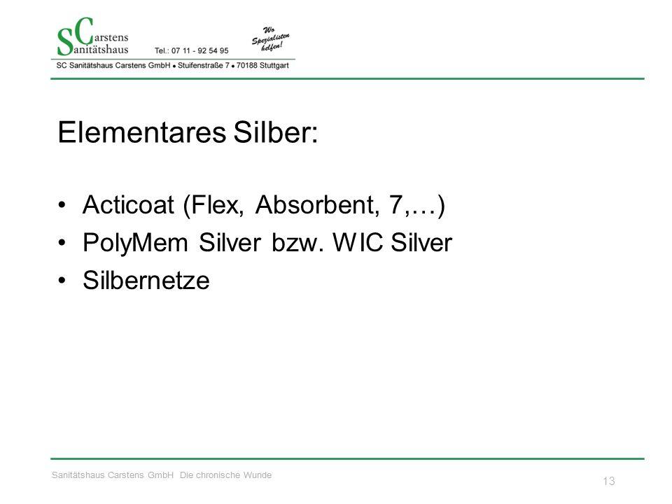 Sanitätshaus Carstens GmbH Die chronische Wunde Elementares Silber: Acticoat (Flex, Absorbent, 7,…) PolyMem Silver bzw. WIC Silver Silbernetze 13