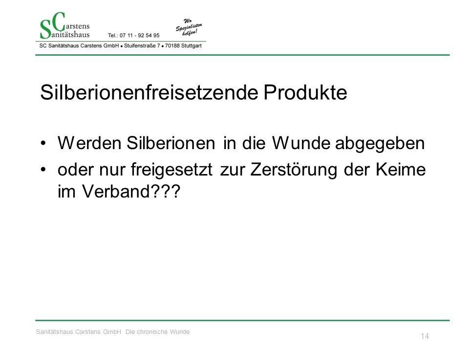 Sanitätshaus Carstens GmbH Die chronische Wunde Silberionenfreisetzende Produkte Werden Silberionen in die Wunde abgegeben oder nur freigesetzt zur Zerstörung der Keime im Verband .