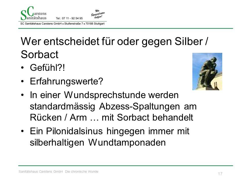 Sanitätshaus Carstens GmbH Die chronische Wunde Wer entscheidet für oder gegen Silber / Sorbact Gefühl .