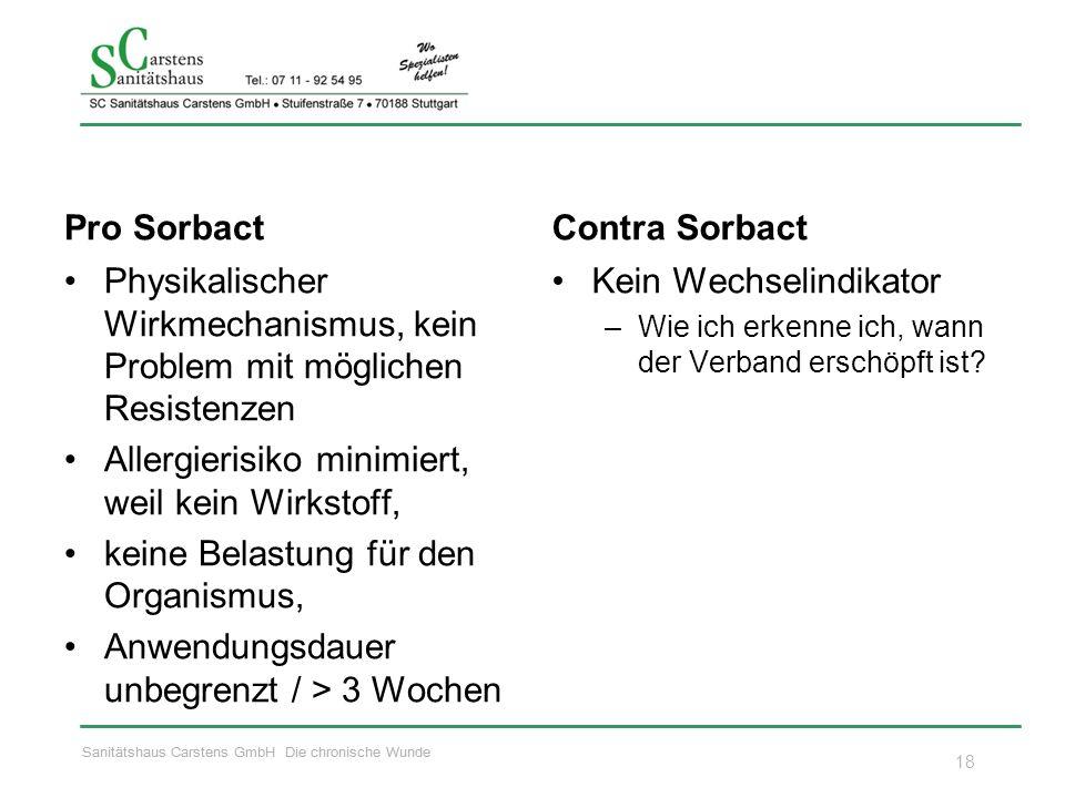 Sanitätshaus Carstens GmbH Die chronische Wunde Pro Sorbact Physikalischer Wirkmechanismus, kein Problem mit möglichen Resistenzen Allergierisiko mini